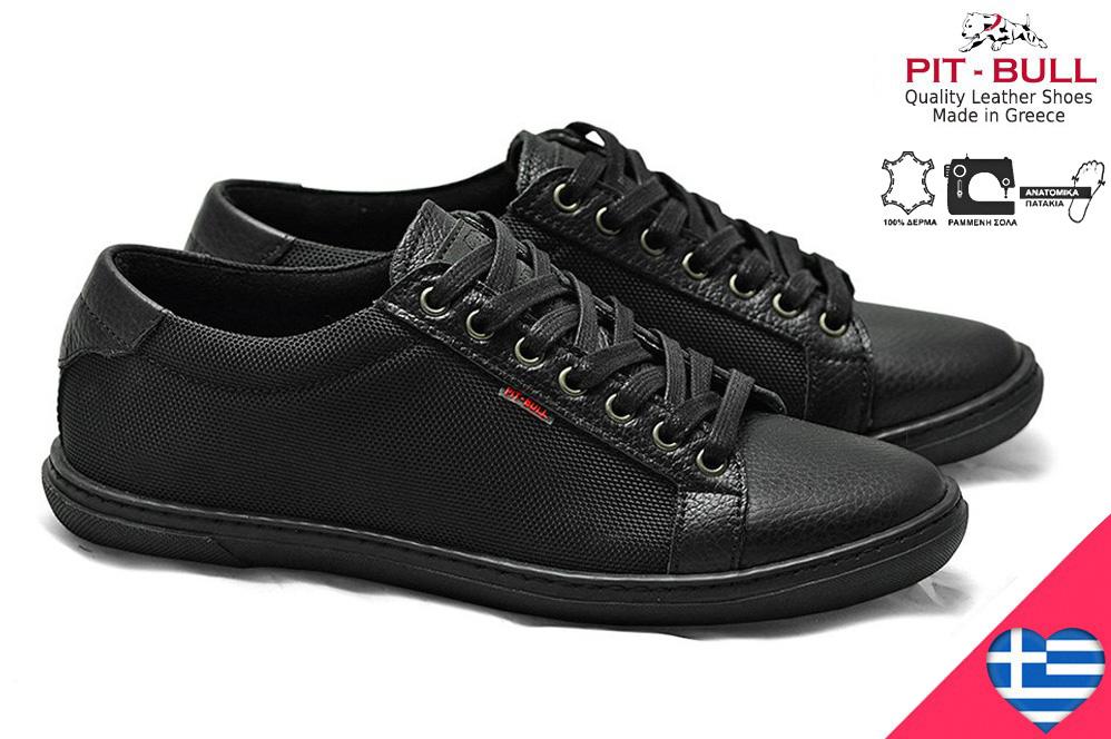 27610b795af Ελληνικά δερμάτινα μαύρα ανδρικά παπούτσια pit bull 852018