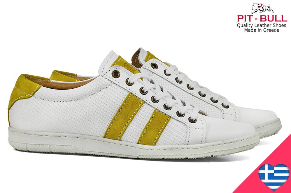 abe3d68948d Ελληνικά Δερμάτινα Λευκά Παπούτσια Pit-Bull 1101617-6
